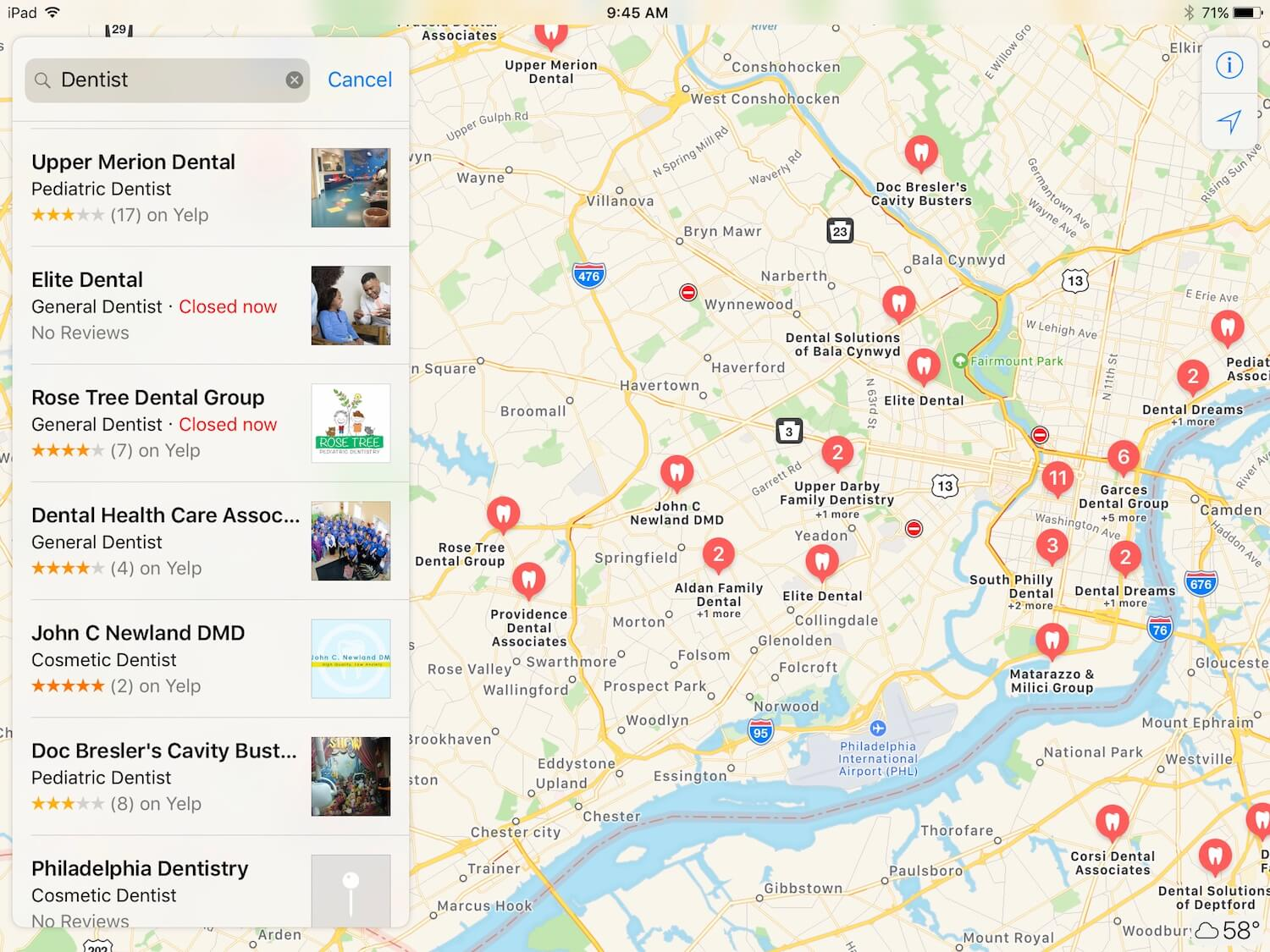 "A search for ""Dentists"" in Apple Maps"